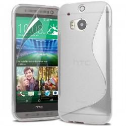 Silikon etui za HTC One M8 +Folija ekrana , Bela barva