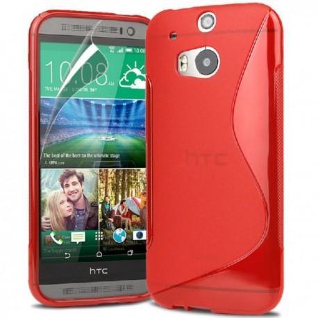 Silikon etui za HTC One M8 +Folija ekrana , Rdeča barva