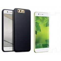 Silikonski etui, črna barva+ zaščitno steklo za Huawei P10