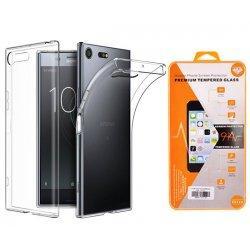 Silikonski etui, prozoren+ zaščitno steklo za Sony Xperia XZ Premium