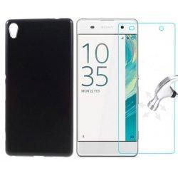 Silikonski etui, črna barva+ zaščitno steklo za Sony Xperia XA