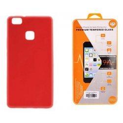 Silikonski etui, rdeča barva+ zaščitno steklo - Huawei P10 Lite