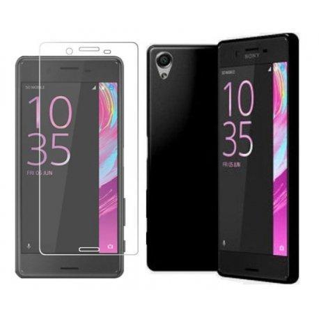 Silikonski etui za Sony Xperia X, črn + zaščitno steklo